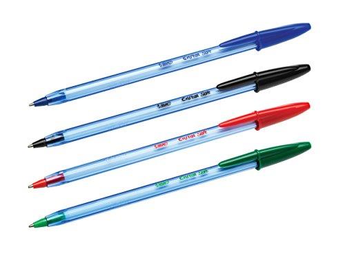 BIC Penne Nere a Sfera, Cristal Soft, Punta Media (1.2 mm), Confezione da 4 Penne, Fornitura per Cancelleria Scuola