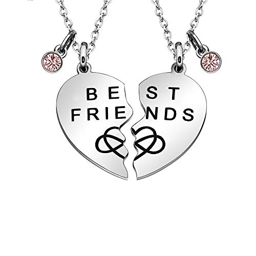 Maxforever Juego de 2 collares con dijes de BFF de la amistad (plata/rosa)