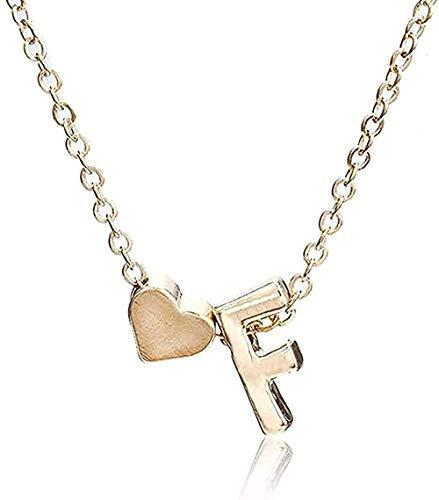 Collar Tiny Gold Collar Simple Letra AZ Gold Love Heart Collar Colgante Mejor Regalo de cumpleaños Joyas para niñas Collar Colgante Regalo para Mujeres Hombres Niñas Niños