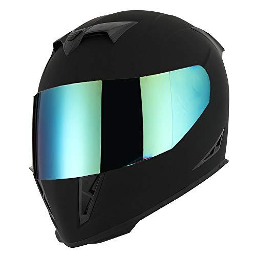 1STorm Motorcycle Full Face Helmet Skull King Matt Black + One Extra Clear Shield, Size Medium...