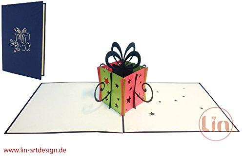 LIN-POP UP 3D wenskaarten cadeau, felicitatiekaarten, verjaardagskaarten, cadeaubox