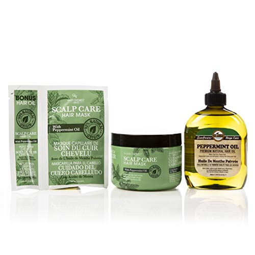 Hair Chemist Peppermint Oil Scalp & Hair Care 3 Piece Set - Scalp Care Mask 235 milliliters+ Travel Size 30 millilitersPackette & Difeel Premium Natur