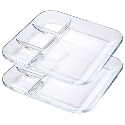 2 Fondueteller, 25 cm Rechteckige Servierteller, Glasteller Dessertteller