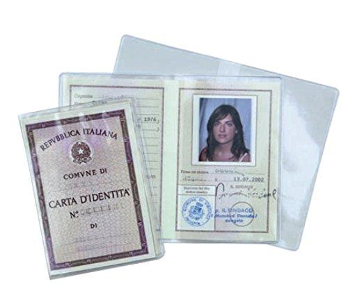 N° 20 porta documenti carta d'identità foto tessera custodia in plastica trasparente