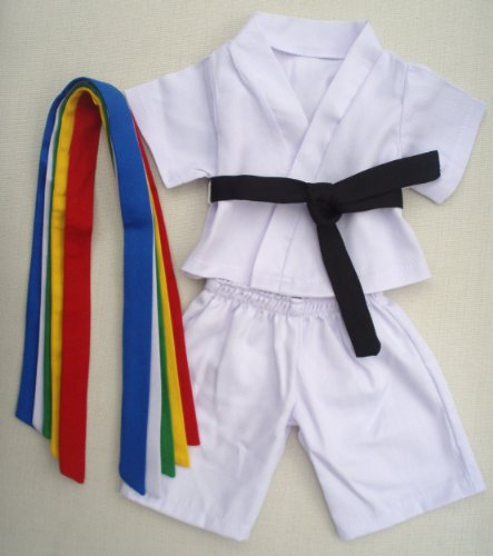 """Karate Uniform Outfit Teddy Bear Clothes Fit 14"""" - 18"""" Build-a-bear, Vermont Teddy Bears, and Make Your Own Stuffed Animals"""