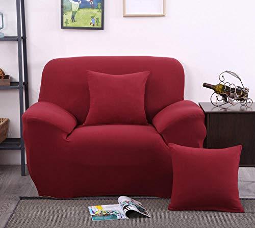 CURTAINSCSR Funda de Sofá Elástica Rojo Sofá Cubierta Estampada Poliéster y Elastano Funda de Sofá para Sala de Estar Funda Antideslizante para Muebles, 1 Plazas: 90-140 cm