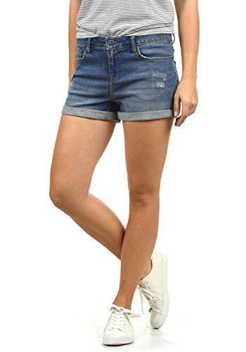 BlendShe Andreja Damen Jeans Shorts Kurze Denim Hose Mit Destroyed-Optik Aus Stretch-Material Skinny Fit, Größe:L, Farbe:Medium Blue Washed (29052)