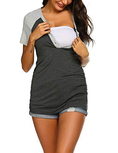 MAXMODA damska koszulka ciążowa do karmienia w stylu casual, bluzka ciążowa, S-XXL