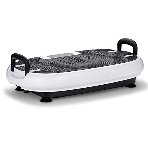 VibroSlim Vibrationsplatte Radial Plus 3D mit Griffen   Gewichtsverlust, Fettverbrennung und Muskelstraffung   5 Programme und 180 Geschwindigkeitsstufen   2 Motoren 200 W   Bluetooth (Weiß)