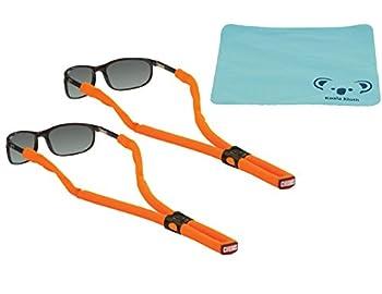 Koala Lifestyle Chums Classic Glassfloats Floating Eyewear Retainer Sunglass Strap   Eyeglass & Glasses Float   Water Sports Holder Keeper Lanyard   2pk Bundle + Cloth Neon Orange
