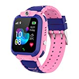 Zwbfu 1.44 '' Reloj Inteligente para niños LBS SOS Call Llamada bidireccional Chat de Voz Zona de Seguridad Configuración Linterna Impermeable Reloj para niños Reloj Smartwatch Teléfopara niños