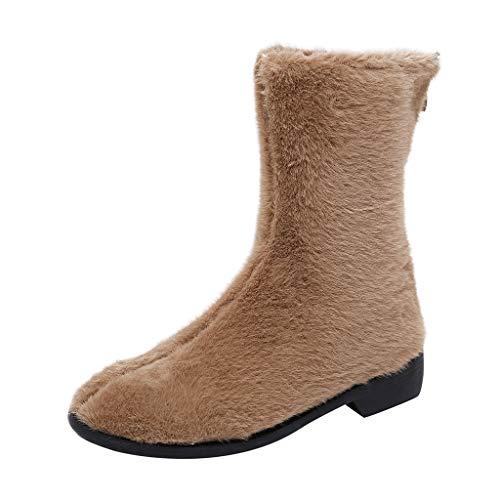 LILIHOT Herbst Winter Stiefeletten Damen Mode Warme Schneestiefel Outdoor rutschfeste Baumwollschuhe Vintage Round Toe Winterstiefel Beiläufige Wanderschuhe Flache Ankle Boots