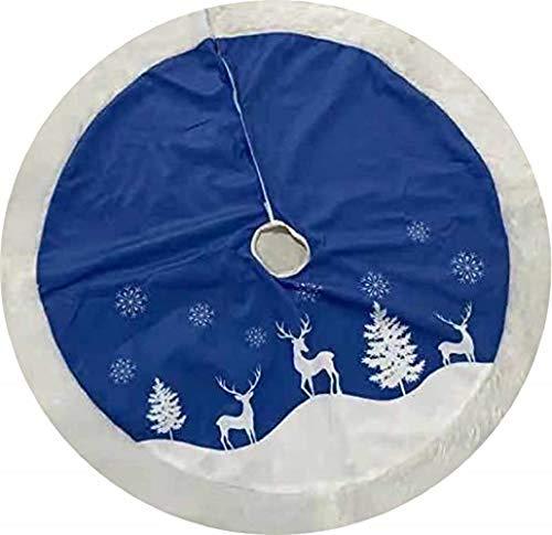 Hleane Weihnachtsbaumdecke Rund Decke Christbaumdecke Baumdecke Tannenbaumdecke Decke für Weihnachten Blau 120cm