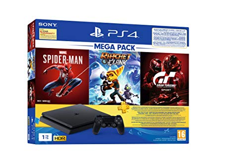PS4 1TB Slim Bundled with Spider-Man, GT Sport, Ratchet & Clank And PSN 3Month