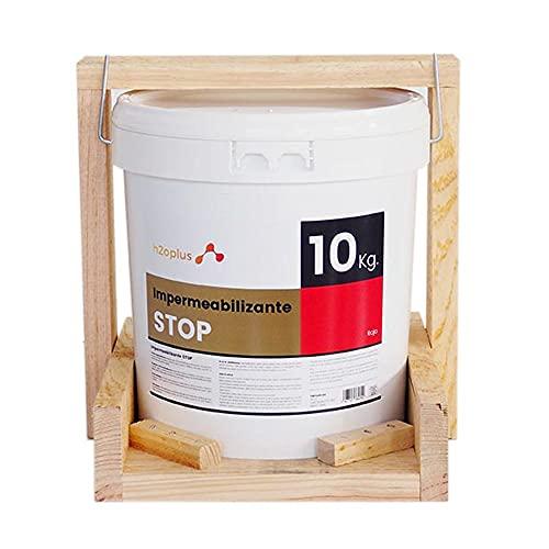Revestimiento Elástico Impermeabilizante STOP · Pintura Impermeabilizante Terrazas y Azoteas · Producto NATURAL 100% en base Agua, SIN OLOR a Disolventes Químicos · Rojo Teja · 10 Kg ( 8,3 L )