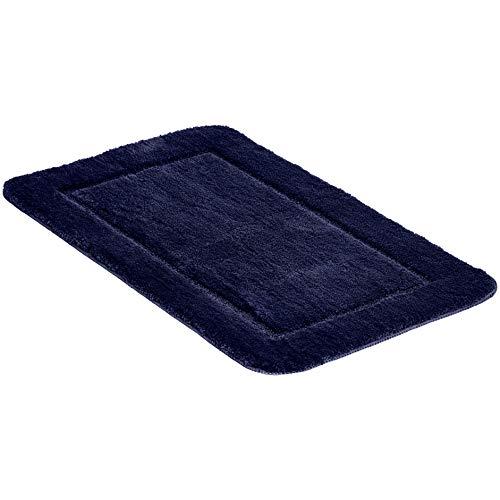 Amazon Basics Ensemble de 2 tapis de bain aux bordures sculptées, Bleu foncé