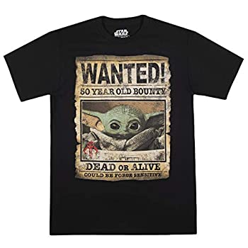 STAR WARS Men s Baby Yoda Child Mandalorian Wanted Poster T-Shirt Black