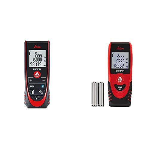 Leica DISTO D2 - Laserdistanzmesser mit automatischer Endstückerkennung & Leica DISTO D1 - einfacher Laserdistanzmesser mit Bluetooth für Apps
