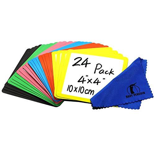 Iman Pizarra para Nevera - Pack 24 - 10x10cm Etiquetas Notas Pizarra Blanca Magnética - Pequeña Etiquetas Tiras Magnéticas para Cocina, Hogar, Oficina y Clase