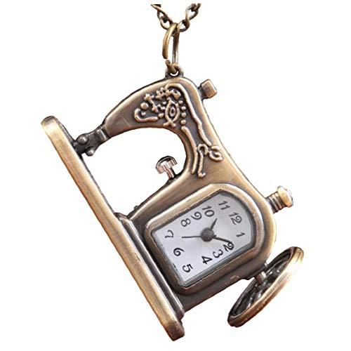 Frauen Taschen-Analog-Quarz-Taschen-Uhr-Nähmaschine-Muster-Halskette hängende Taschen-Uhr-Bronzen-Weinlese-Ketten Halskette Taschenuhr