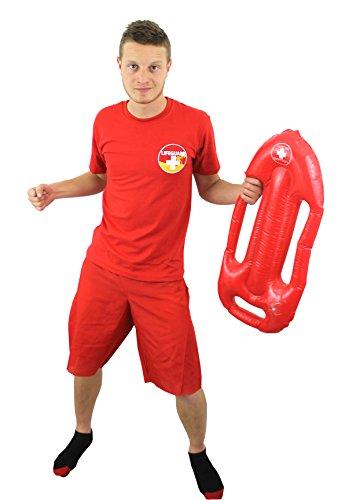 0210PXYAO34 ILOVEFANCYDRESS T-Shirt de Maitre Nageur Sauveteur Rouge avec sa bouée pour Homme. ( Small )