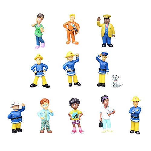 smileh Sam Le Pompier Gâteau Décoration Figurines Pompier Mini Figurines Pompier Cake Topper Figurines 12 Pièces
