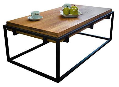 Lumarc Padova, Tavolino da Salotto in Legno Massello di Quercia Naturale dal Design Moderno Industriale Minimalista, Rovere, Rettangolare, 110 x 60 x 42 cm