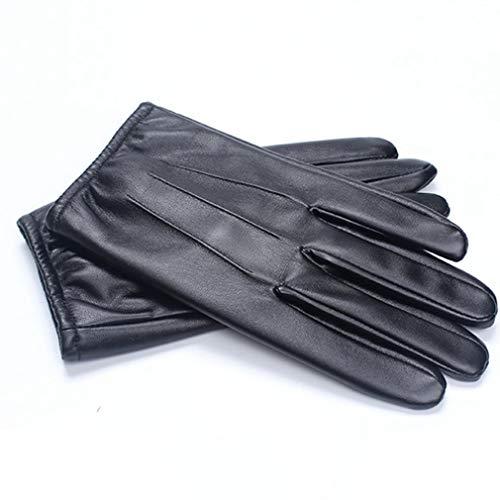 Leren Handschoenen Heren Locomotief Touchscreen Simulatie Leer Pu Gewassen Leer Plus Fluweel Dik Warm Rijden Bestuurder Zwart L