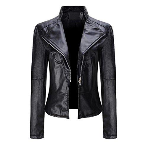 ESAILQ Femmes Hiver Chaud Manteau Court en Cuir Veste Parka Zipper Hauts Pardessus Outwear Noir S-3XL (XL, Noir)