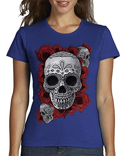 latostadora - Camiseta Calavera Mexicana N Roses para Mujer Azul Royal XL