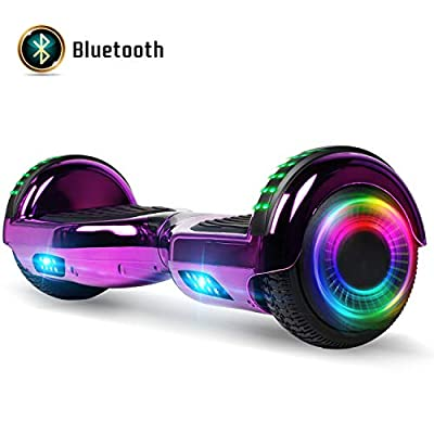 """FLYING-ANT Hoverboard with Bluetooth, Self Balancing Electric Scooter 6.5"""" Two-Wheel Hover Boards with LED Lights for Kids and Adult-A02B Chrome Purple"""
