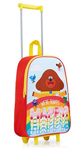 Hey Duggee Suitcase for Boys Girls, Travel Bag with Squirrel Club Characters, Practical Carry On Suitcase, Kids Trolley Hand Luggage with 2 Wheels, Gifts for Boys Girls Age 3+