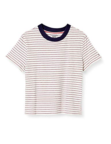 Tommy Jeans Damen Tjw Contrast Rib Baby Tee Sport Pullover, Weiß (White/Multi 0fo), 34 (Herstellergröße: Small)