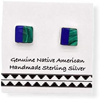 5mm Genuine Malachite and Lapis Lazuli Stud Earrings, 925 Sterling Silver, Authentic Native American Handmade in the USA, ...