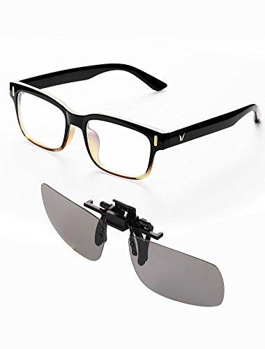 Naropox Gafas de Filtro de Luz Azul Lentes Antireflejantes, Kits de Gafa de Computadora con Clip de Lentes de película 3D para Mujer y Hombres