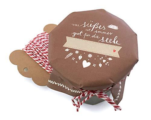 25 Marmeladendeckchen - süßes für die Seele - Gläserdeckchen Braun Weiß für Marmelade, Marmeladengläser & Einmachgläser, Recyclingpapier Abreißblock + 10 m Garn + Justiergummi