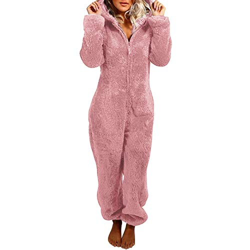 Petalum Combinaison Pyjama Femme Barboteuse Polaire Capuche Vêtement Nuit Adulte Costume Chaud Loungewear Douce Onesie Pajama Women Sleepwear Jumpsuit
