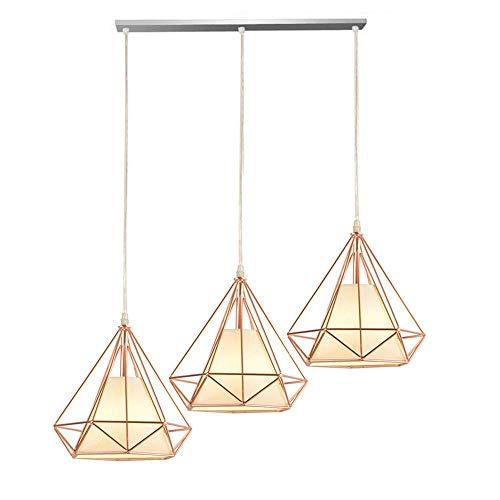 E27 hanglamp hanglamp stijl Rural frame metaal zwart lampenkap stof bruin eenvoudig creatieve vorm diamant 3 lampen pendel voor slaapkamer eetkamer entree Aisle
