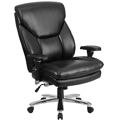 Flash Furniture HERCULES Series 24/7 Intensive Use Big & Tall 400 lb. Rated Black LeatherSoft Ergonomic Office Chair with Lumbar Knob, BIFMA Certified