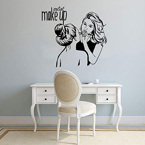 HNXDP Künstler Make Up Beauty Salon Sopracciglia Wandaufkleber Abziehbilder für Mädchen Zimmer Salon Geschäfte oder Geschäfte Dekor Wandkunst Aufkleber Aufkleber 58cmX59cm
