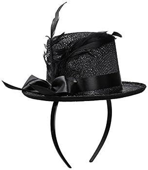 Jacobson Hat Company Women s Mini Glitter Top Hat Headband Black Adult
