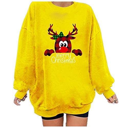 Franterd Sweatshirts for Women Christmas Cute Elk Graphic Shirts Casual Loose Long Sleeve Xmas Pullover Tunics Tops