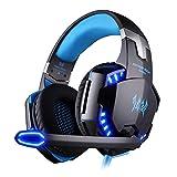 EasySMX G2000 - Auriculares Gaming de Diadema Cerrados (3.5 mm, con micrófono, reducción de Ruido, Control Remoto Integrado), Color Negro y Azul