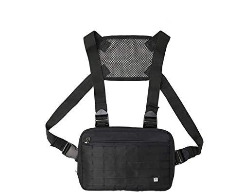 Fonxoy-Backpack Zaino Monospalla Da Uomo Zaini Casual Borsa Tattica Multi-Tasca Per Pettorina Gilet Tattico Tooling 32 * 4 * 21,5 Cm (Nero)