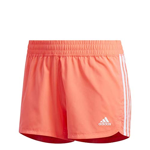 adidas womens Pacer 3-Stripes Woven Shorts Signal Pink/White XX-Large