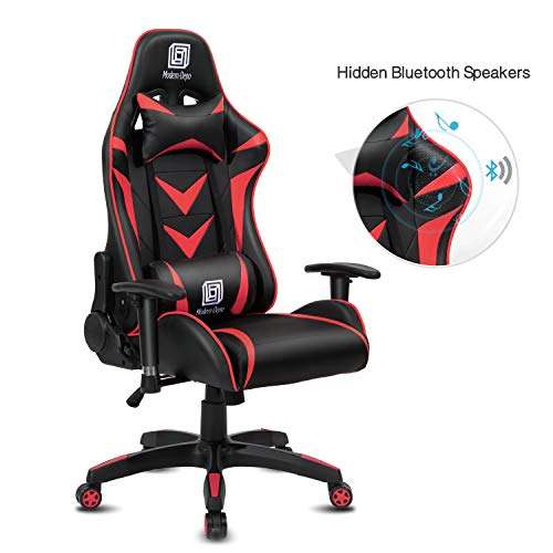 Modern-Depo High-Back Swivel Gaming Chair Recliner with Bluetooth 4.1 Speakers & Lumbar Support & Headrest | Height Adjustable Ergonomic Office Desk Chair - Black & Red blue chair gaming
