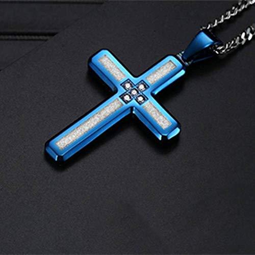 Collares Colgante Joyas Collares Cruzados De Acero Inoxidable Collar con Colgante De Crucifijo para Hombres Moda Hombres De Acero Inoxidable-Blue_with_Box_Chain_with_50Cm_Chain