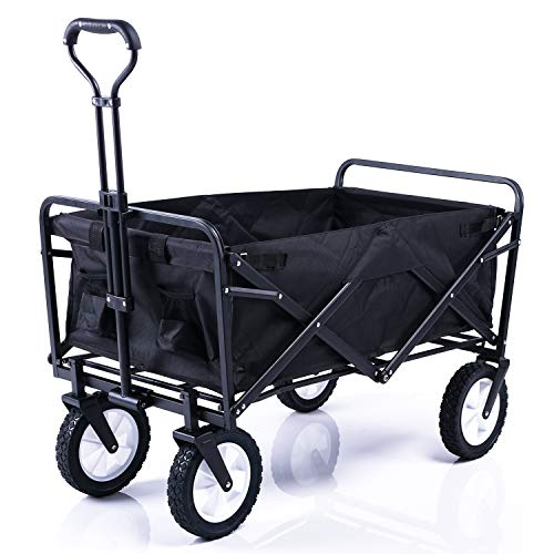 Faltbarer Bollerwagen Handwagen Faltwagen Gartenwagen mit Teleskopgriff 360°Drehbar Rädern 80kg
