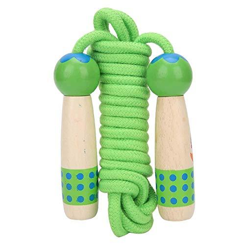 Springtouw, 12 cm houten oefentouw Springtouw Ergonomisch/Duurzaam, Kinderen Studententouwtjes Kruistouwtjespringen voor aerobe oefeningen zoals snelheidstraining/duurtraining(Groen)