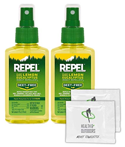 Repel Plant-Based Lemon Eucalyptus Insect Repellent, Pump Spray, 4-Ounce (2 Count) W/ 2 HAO Moist Towelettes
